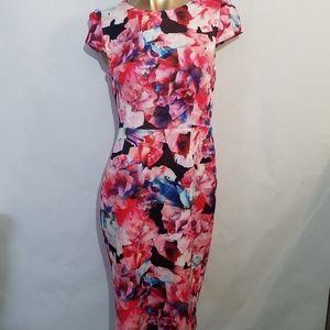 Betsey Johnson floral scuba sheath midi dress